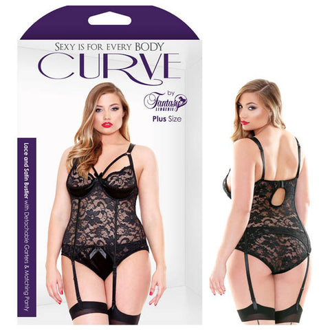 CURVE LACE AND SATIN BUSTIER WITH DETACHABLE GARTERS & PANTY