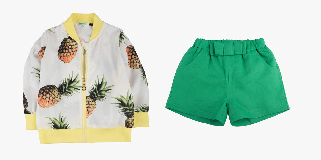 Pineapple Bomber Jacket and Linen Dress Short Bundle Deal