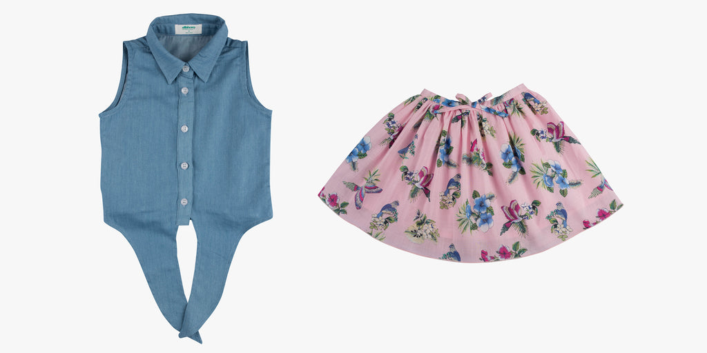 Chambray Tie Front Shirt and Gather Skirt in Paradise Skirt Bundle Deal
