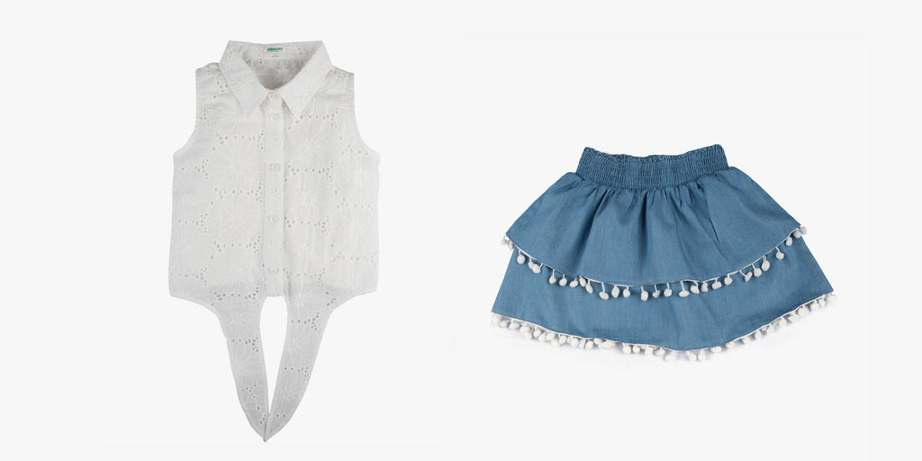 Tie Front Shirt in Broderie and Chambray Pom Pom Skirt Bundle Deal