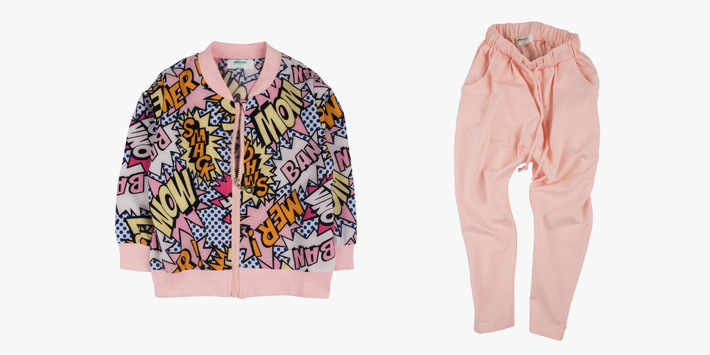 Bomber in Pop Art Print and Slouch Jersey Pants Bundle Deal