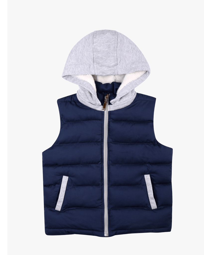 Hoodie Padded Vest Navy Front