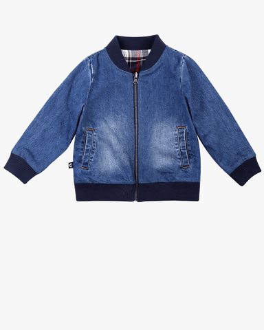 Denim Effect Velvet Bomber