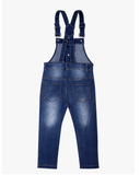 Button Up Overalls Blue Denim Back
