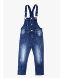 Button Up Overalls Blue Denim Front