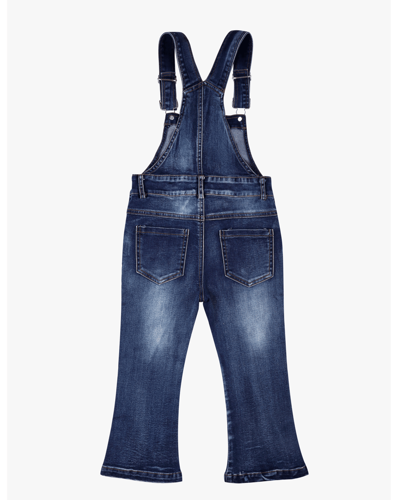 Flare Overalls Blue Denim Back