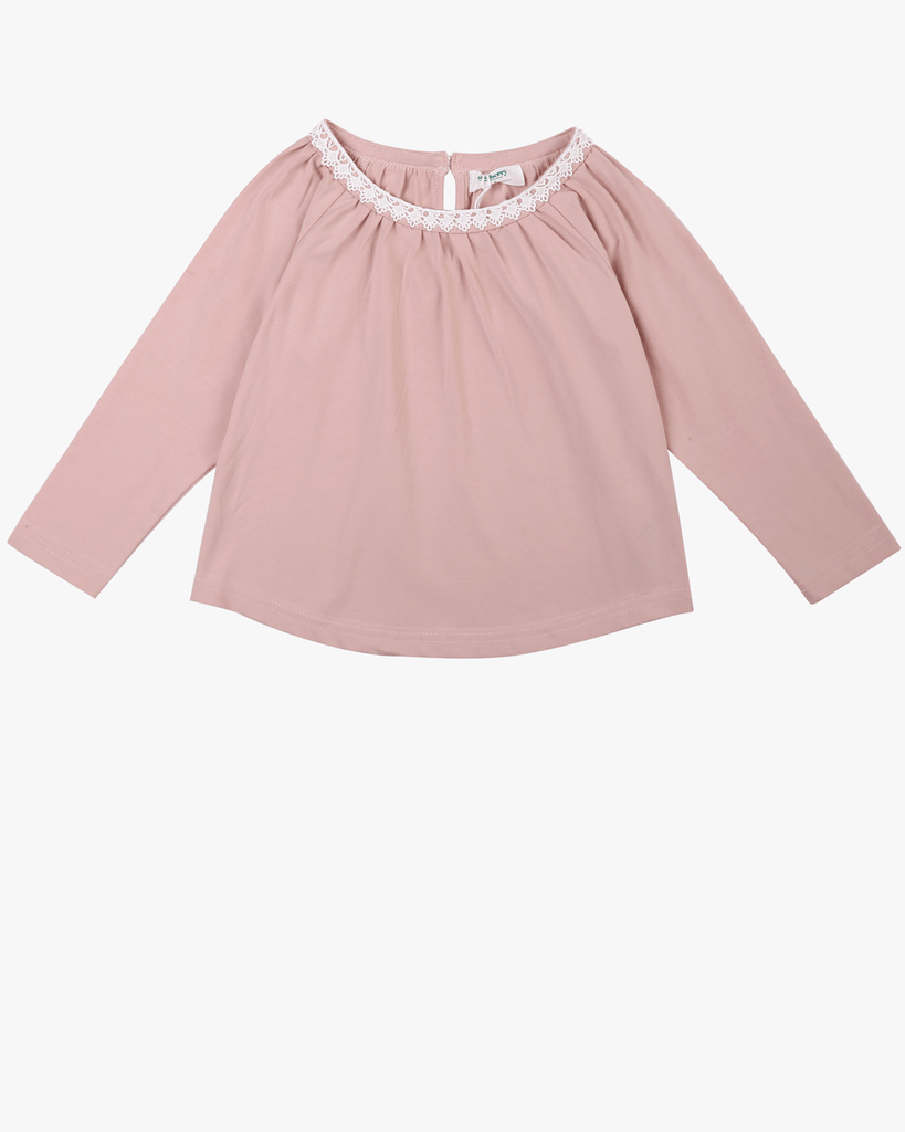 Raglan Lace Top Blush Pink Front