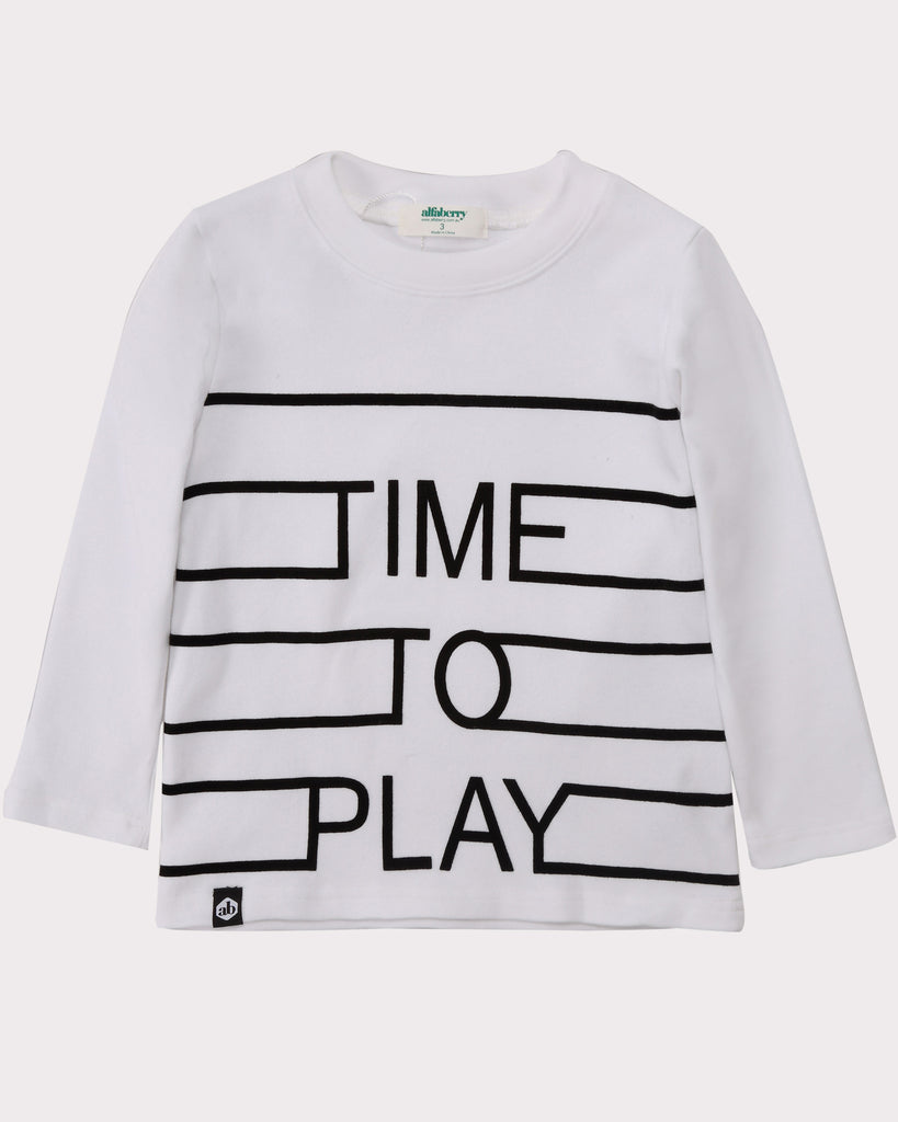 Time To Play Long Sleeve Tee white front