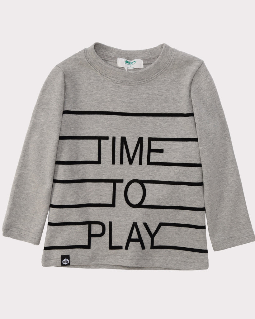 Time To Play Long Sleeve Tee grey front