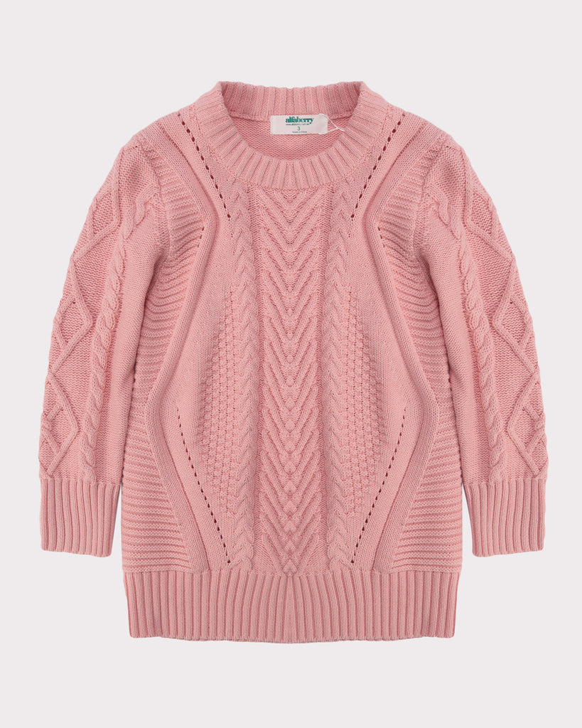 Cable Knit Jumper Dress Pink Front