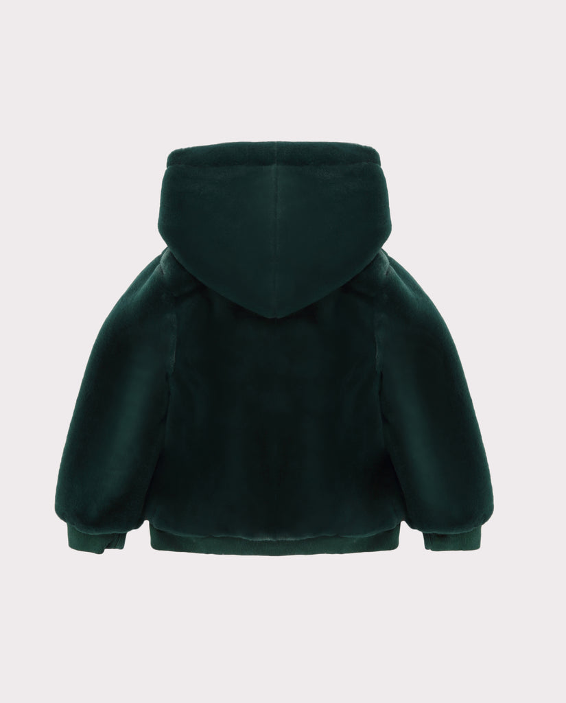 Faux Fur Jacket Green Back