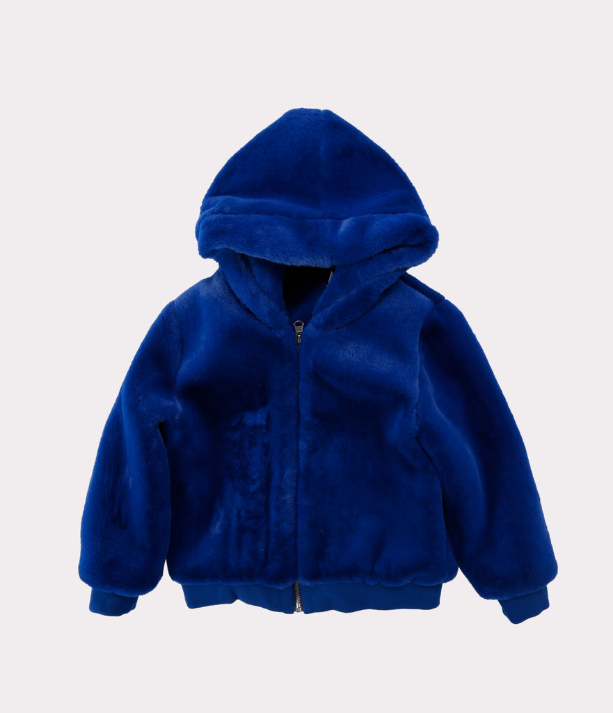 Faux Fur Jacket Royal Blue Front
