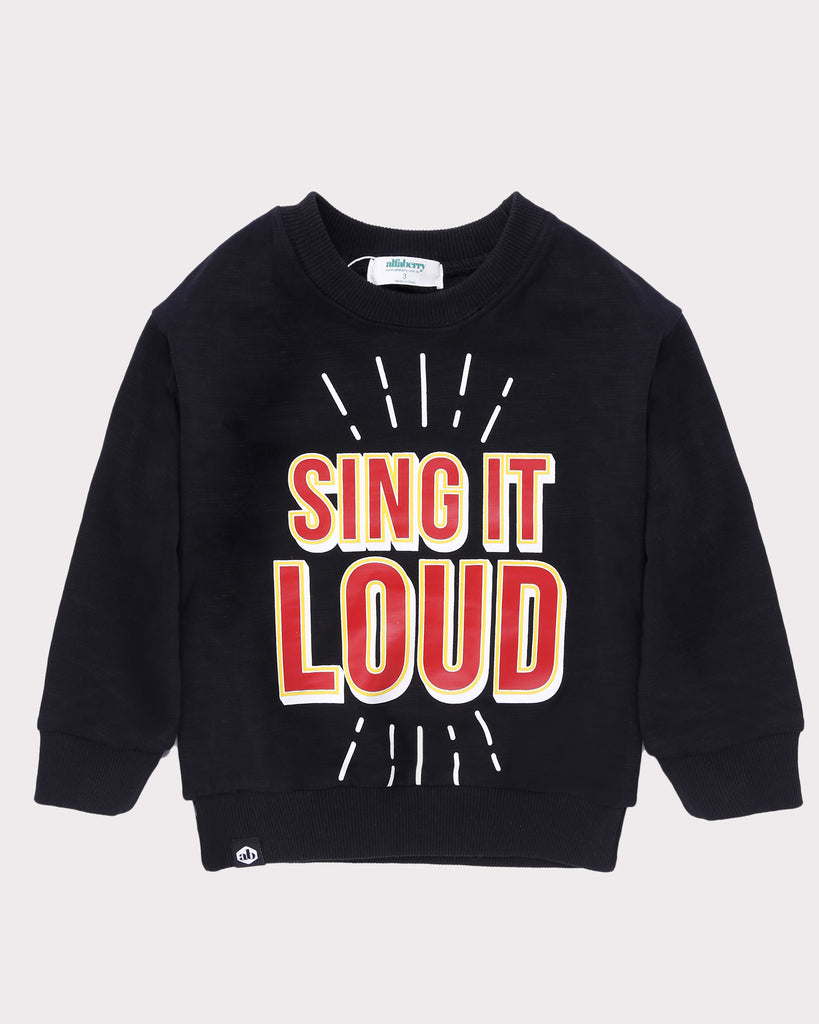 Sing It Out Loud Jumper Black front