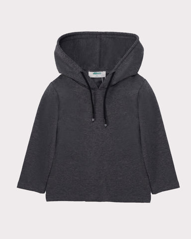 Long Sleeve Layering Hoodie in Black