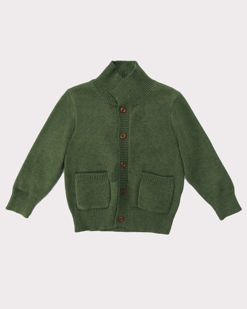 Adventure Cardigan Forest Green Front