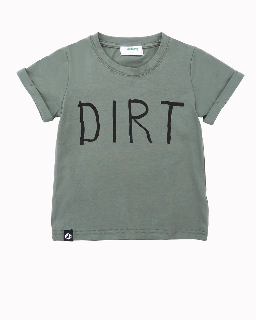 Dirt Tee in Army Green Front