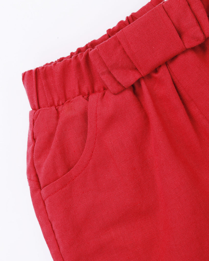 Linen Dress Short in Red