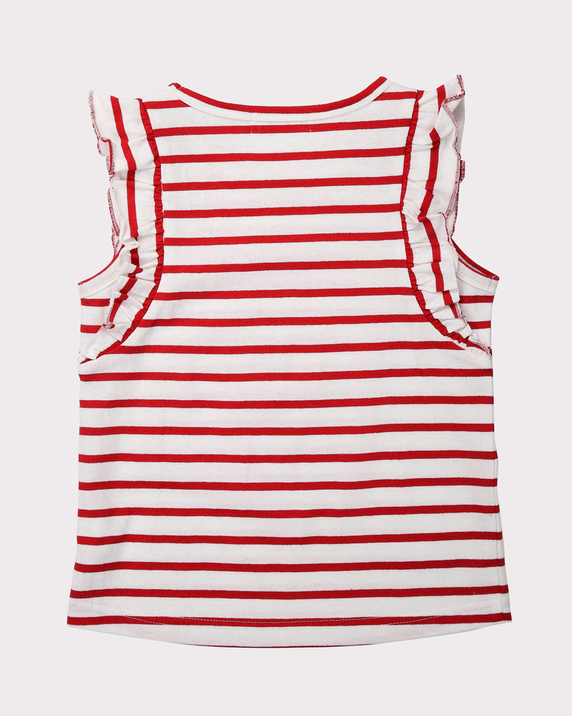 Flutter Tee In Red Stripes Back