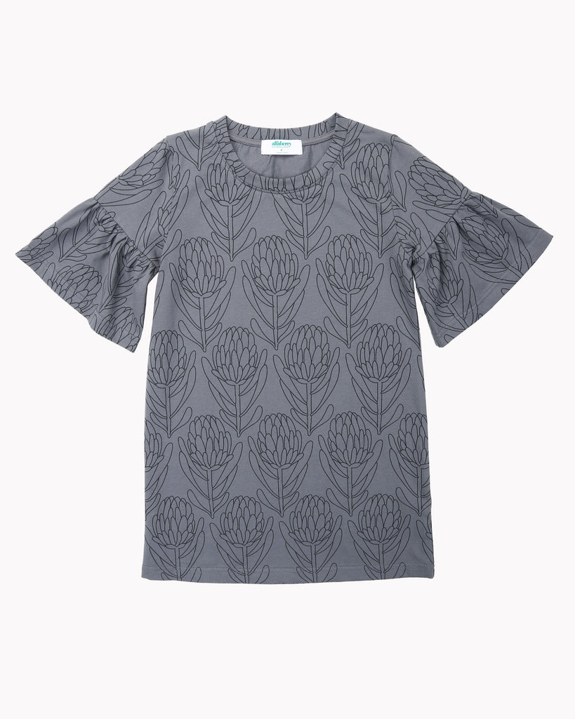 Waratah Tee Dress In Charcoal Front
