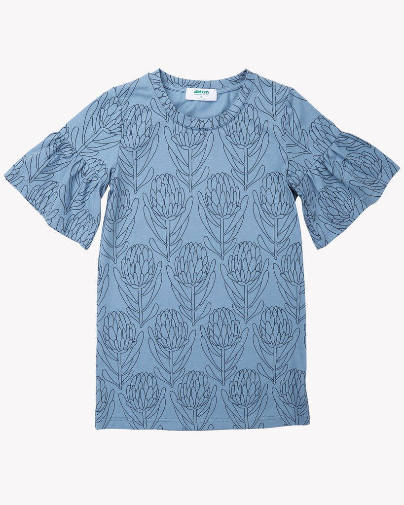 Waratah Tee Dress In Blue Front