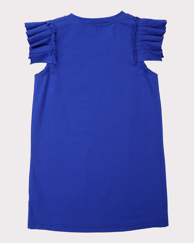 Pleated Sleeve Dress In Cobalt Back