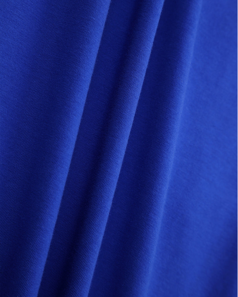 Pleated Sleeve Dress In Cobalt Detail
