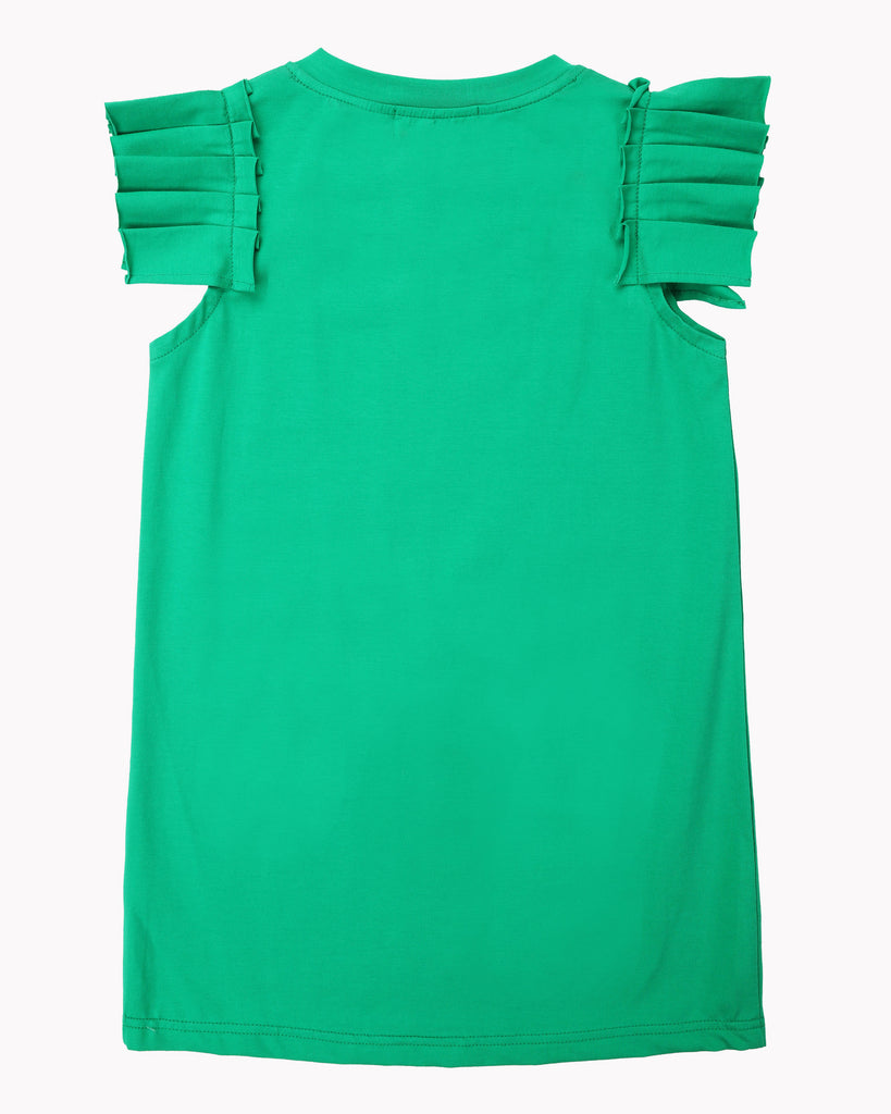 Pleated Sleeve Dress In Emerald Back