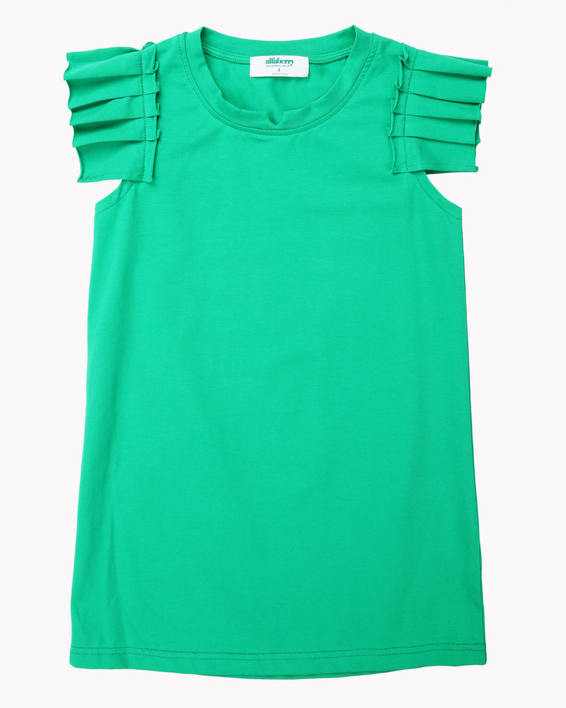 Pleated Sleeve Dress In Emerald Front
