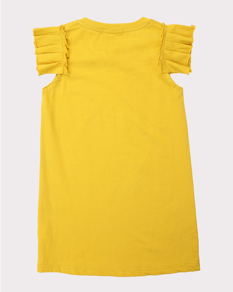 Pleated Sleeve Dress In Mustard Back