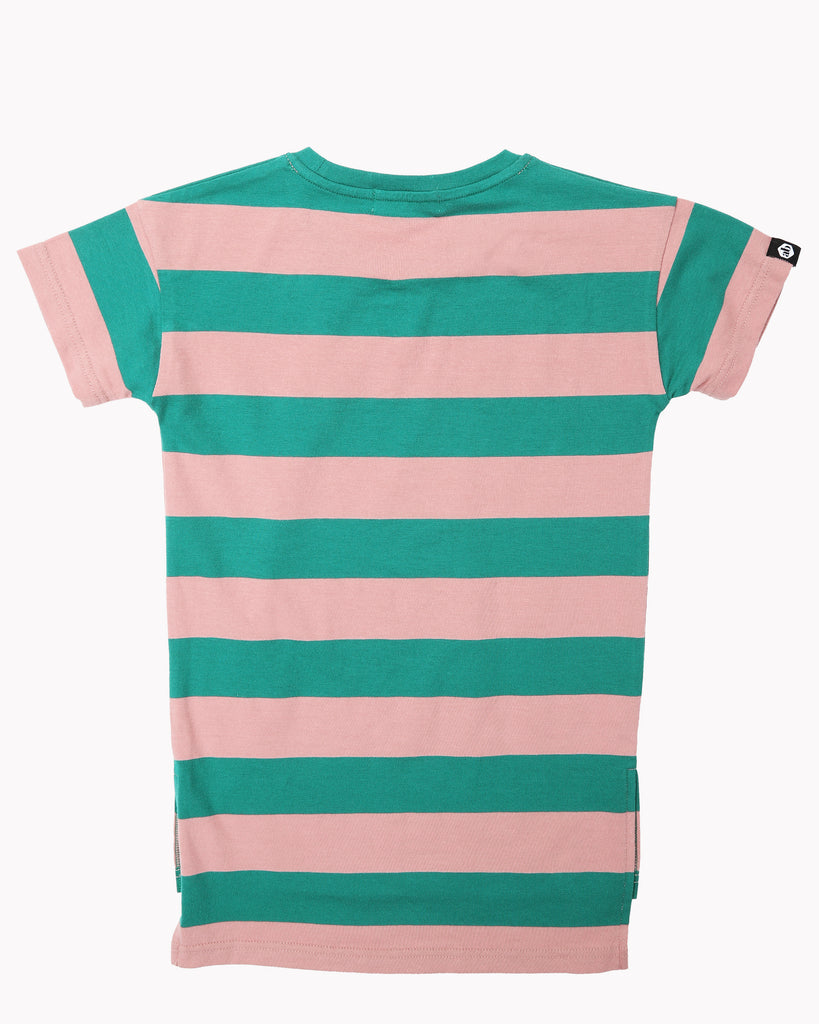 Wide Stripes T-Shirt Dress In Green and Salmon Back