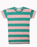 Wide Stripes T-Shirt Dress In Green and Salmon Front