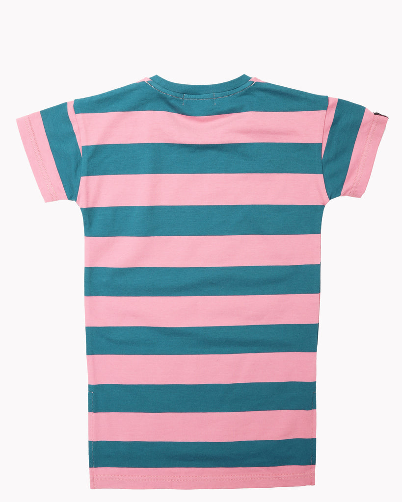 Wide Stripes T-Shirt Dress In Teal and Pink Back