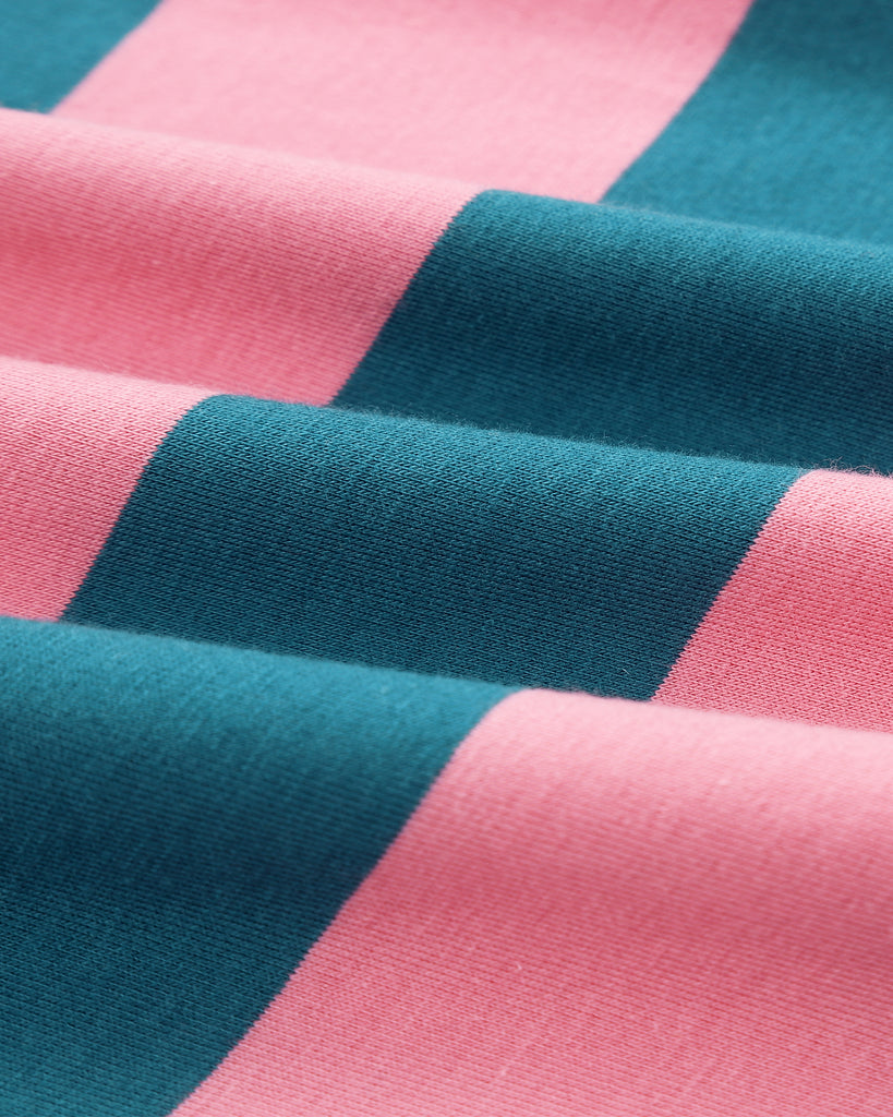 Wide Stripes T-Shirt Dress In Teal and Pink Detail