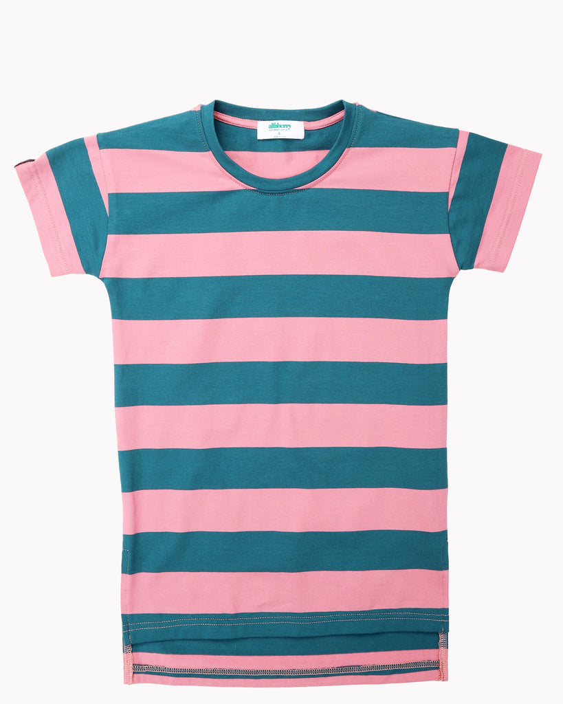 Wide Stripes T-Shirt Dress In Teal and Pink Front