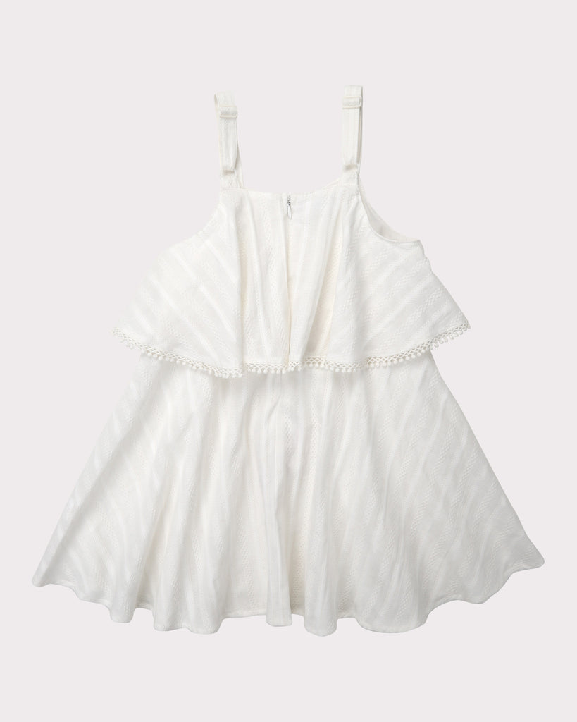 Tiered Broderie Dress In Ivory
