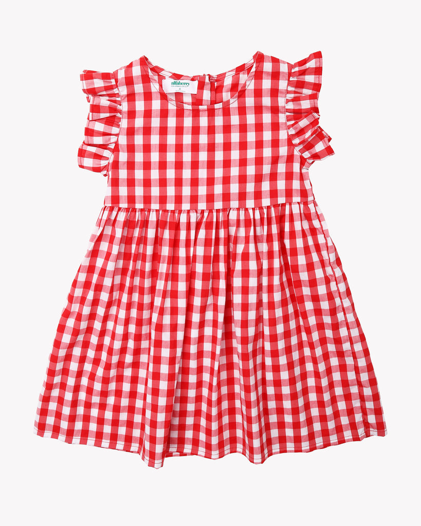 Babydoll Tartan Dress In Red Front