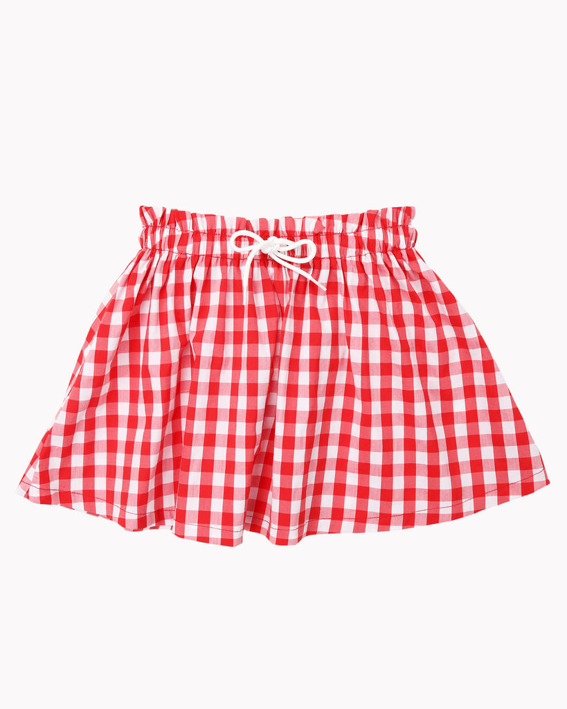 Gather Skirt Tartan In Red Front