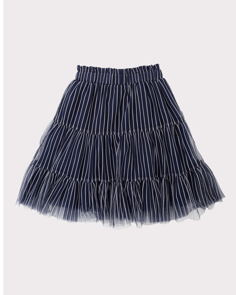 Tiered Tulle Skirt In Navy and Silver Trims Back