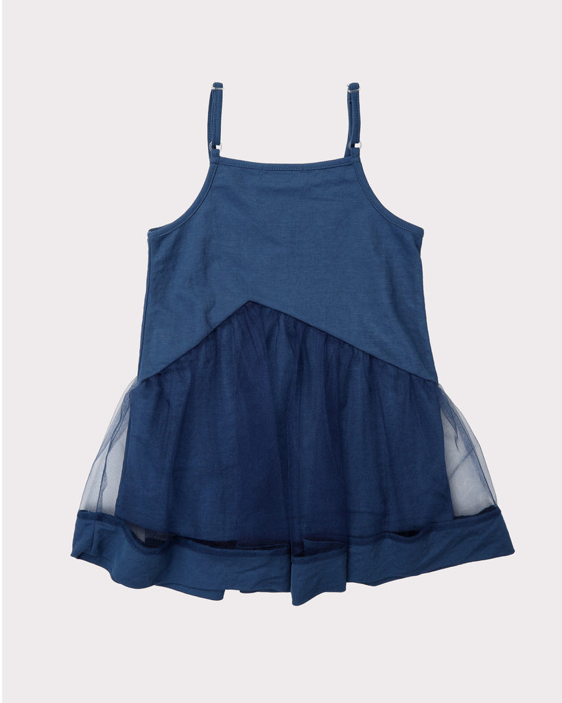 Lexi Dropwaist Tulle Dress In Washed Blue Back