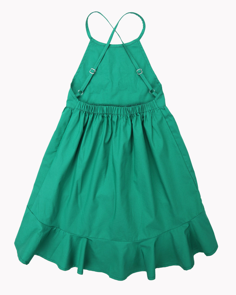 Sasha Embroidery Dress In Emerald Back