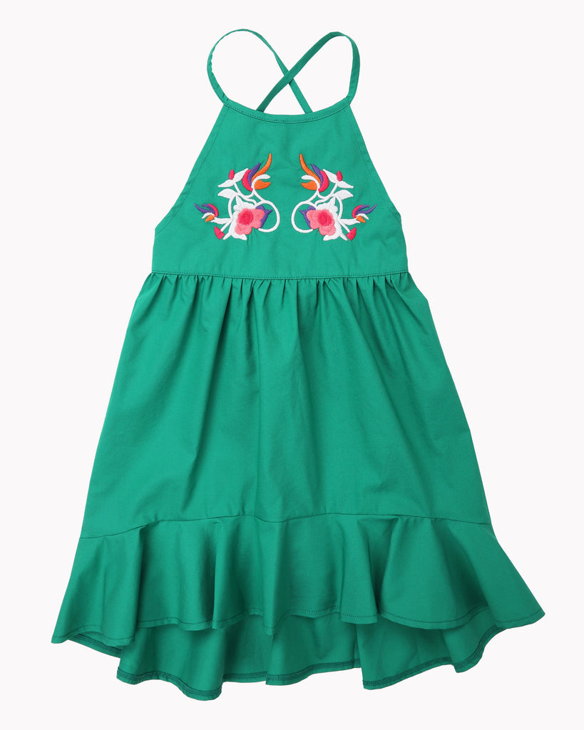 Sasha Embroidery Dress In Emerald Front