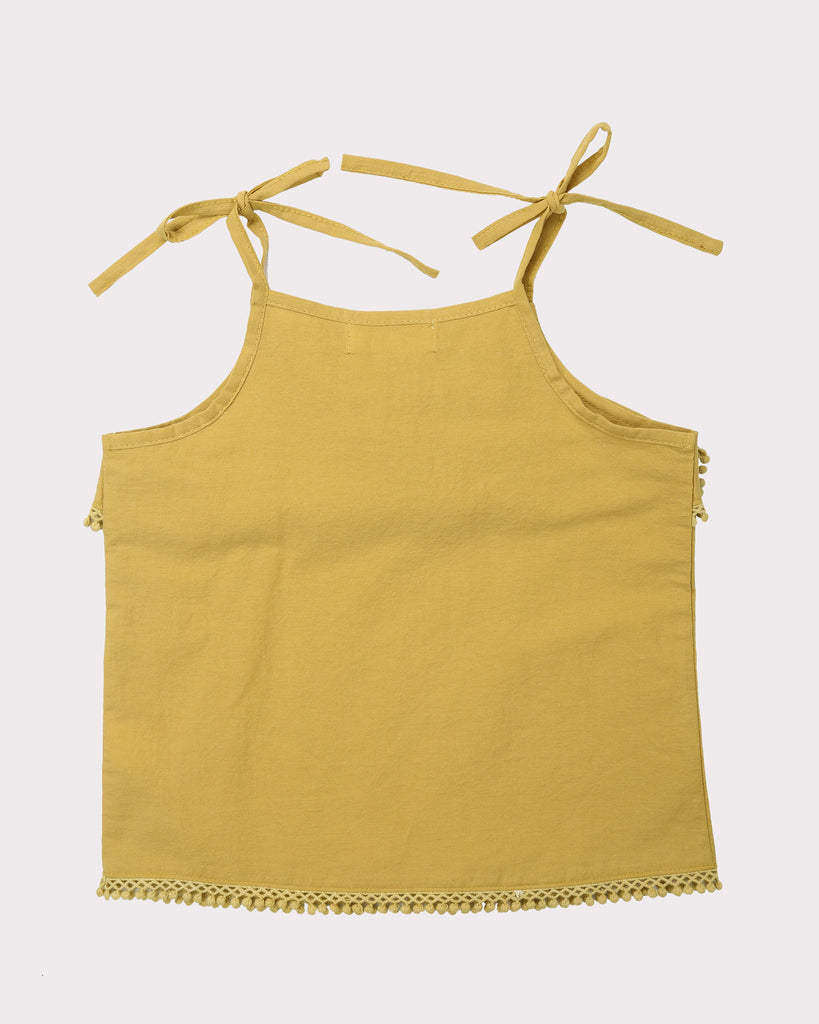 Linen Strappy Top In Mustard Back
