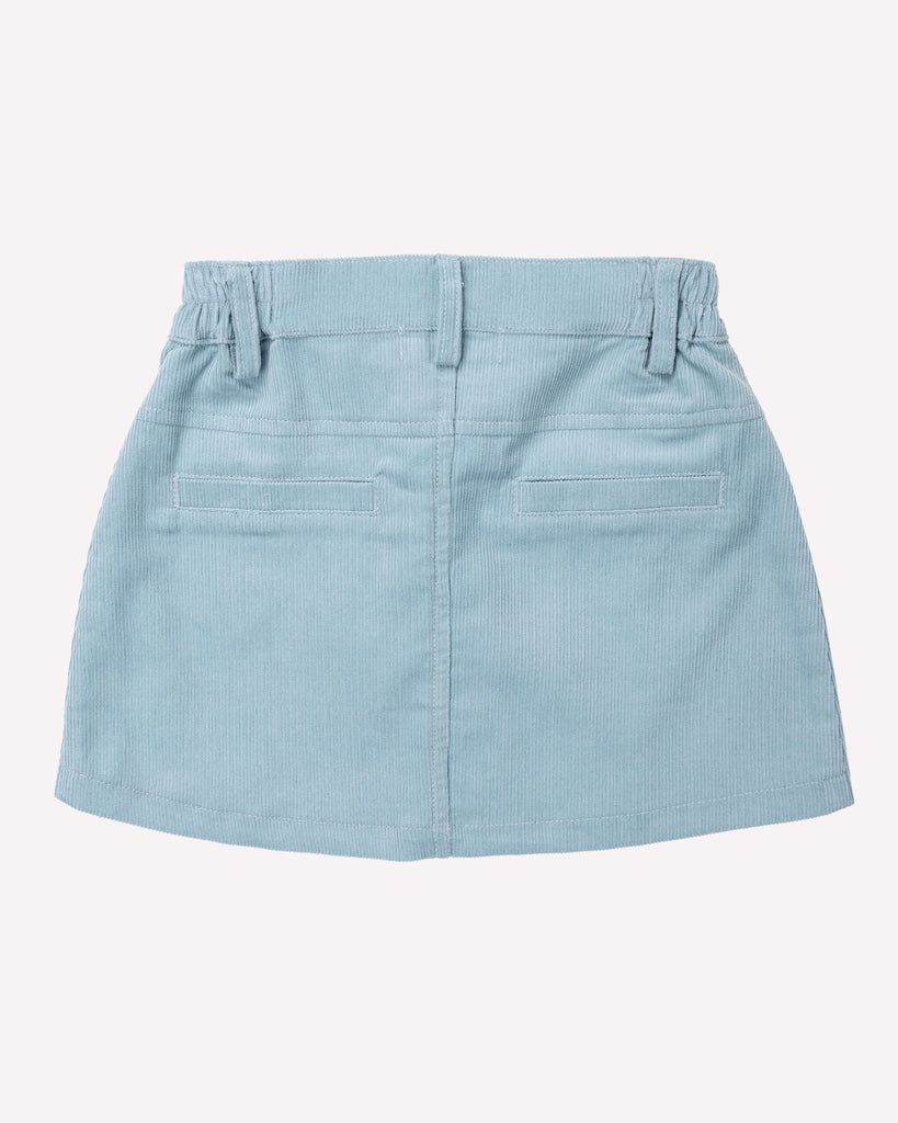 Sunset Cordury Skirt In Powder Blue Back