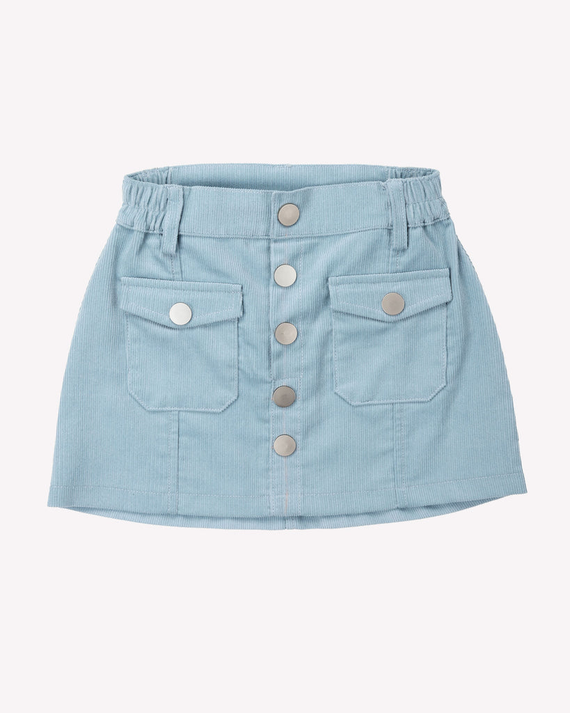 Sunset Cordury Skirt In Powder Blue Front