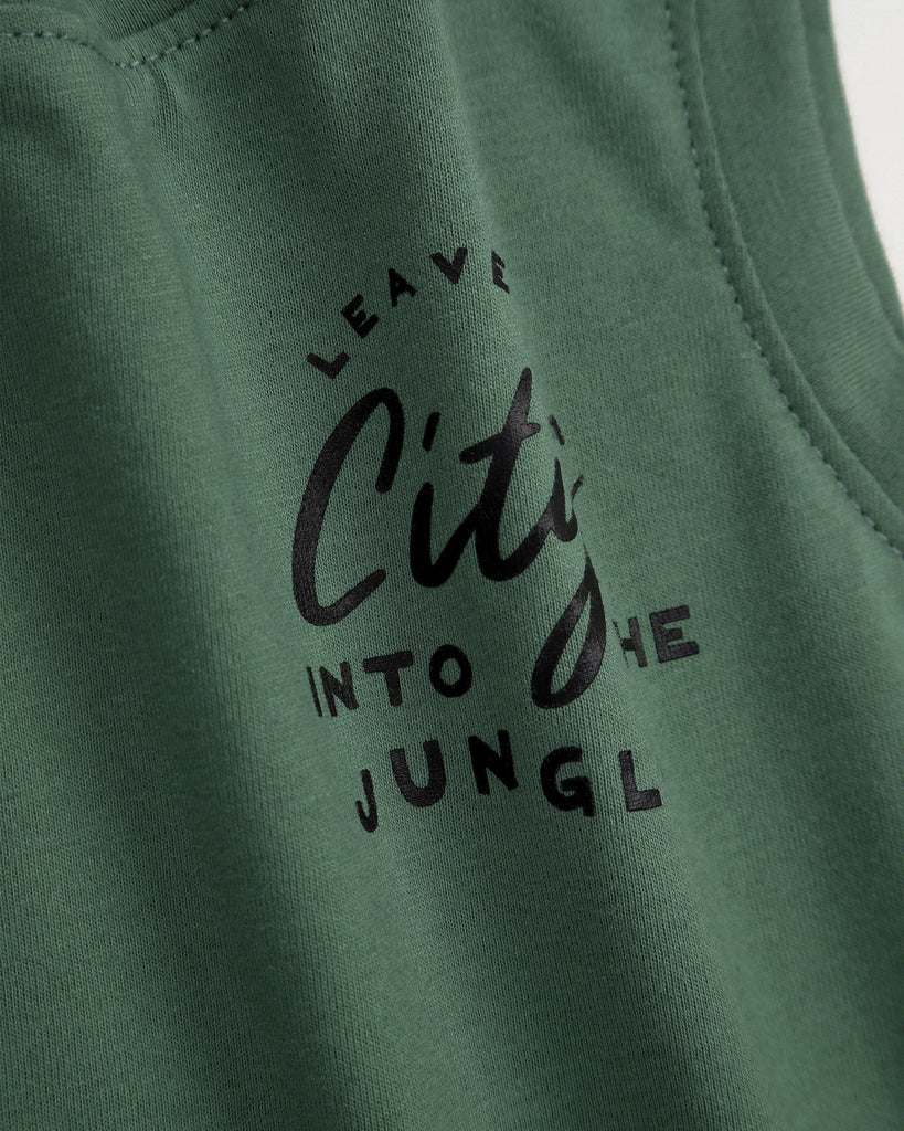 Leave The City Tank In Olive Detail
