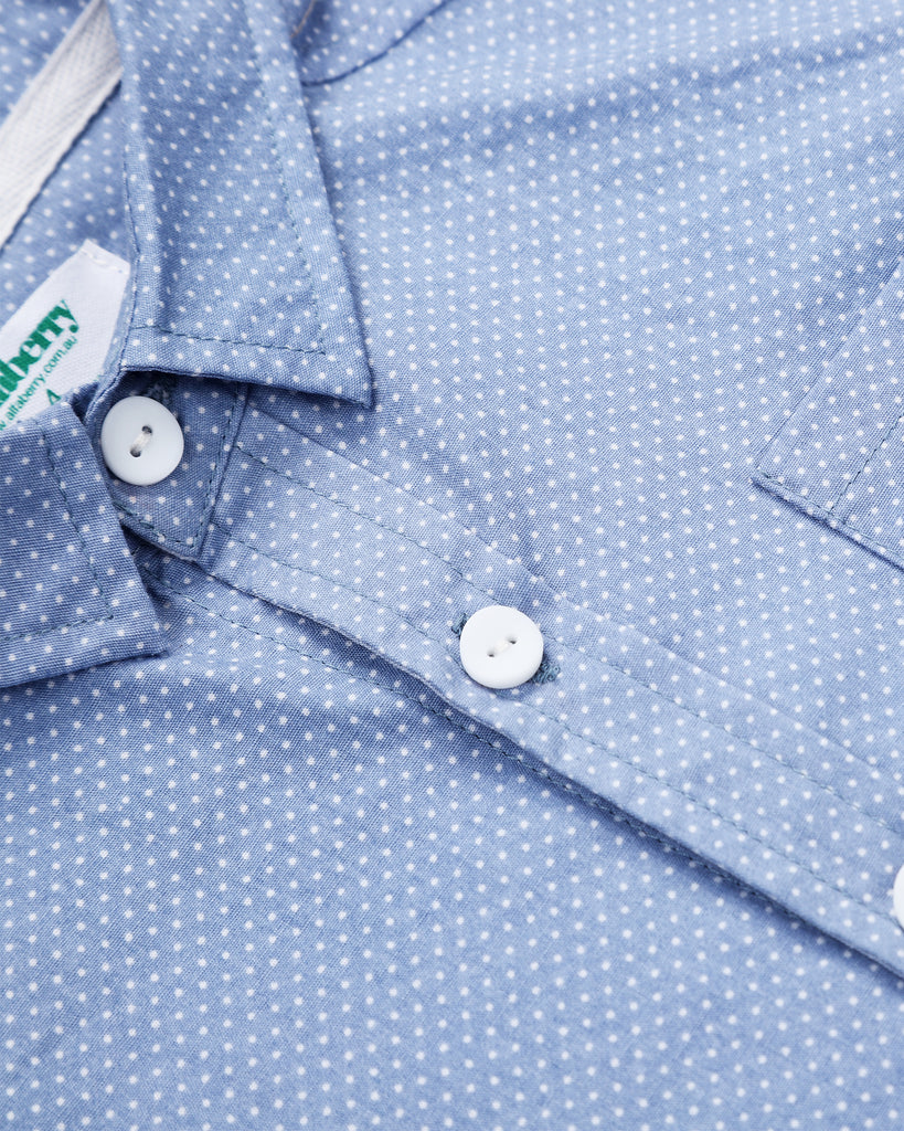 Pin Dot Shirt In Teal Detail