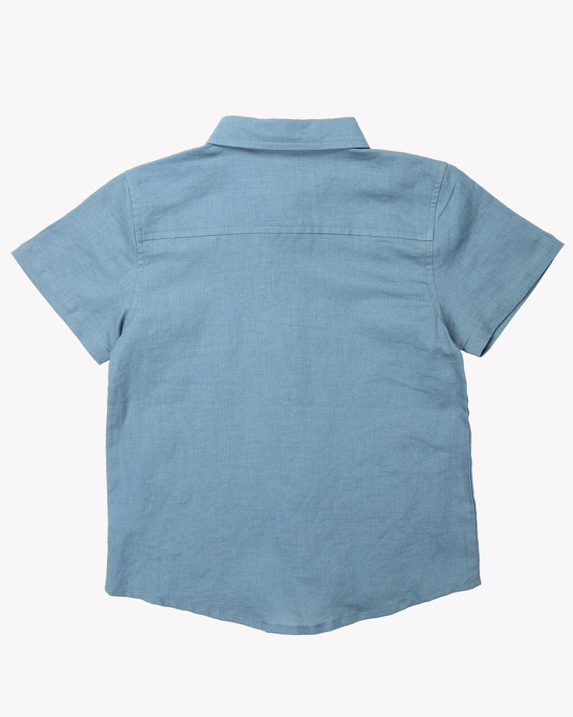 Classic Linen Shirt In Steel Blue Back