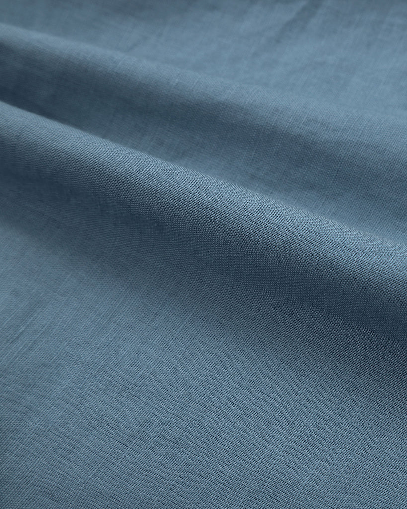 Classic Linen Shirt In Steel Blue Detail