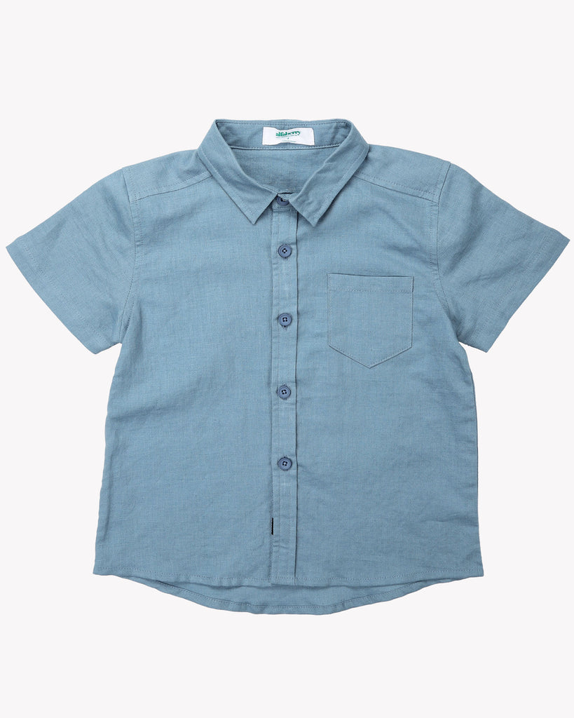 Classic Linen Shirt In Steel Blue Front