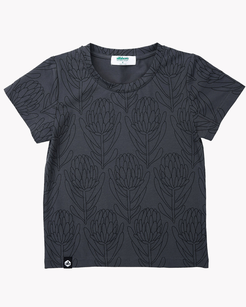 Waratah Tee In Charcoal Front